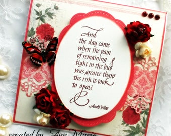 handmade encouragement card shabby chic anais nin quote get well grief loss words of wisdom vintage handmade greeting card
