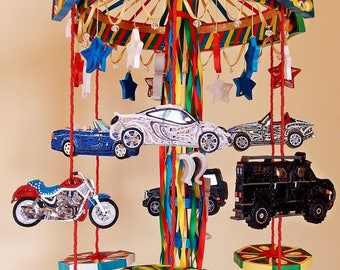 Carousel Crib Mobile – Cars Mobile – Name Decoration - Motorcycle Mobile – Quilled Nursery Mobile - Quilling Mobile ,