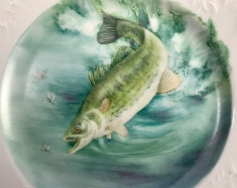 Large mouth Bass hand painted fish plate