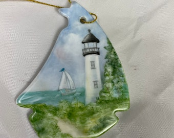 Sail boat Shaped Porcelain Ornament with Lighthouse