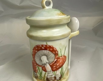 Mushrom jar hand painted porcelain
