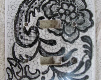 Porcelain Light Switch Cover hand painted with Black Lace