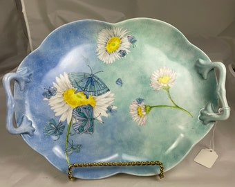 Butterfly tray hand painted porcelain