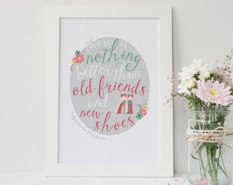 Friendship Print for Shoe Lovers - best friend gift - personalized print - friendship print - shoe print - friendship quote - best gift - UK