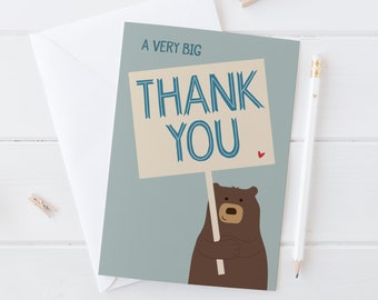 Bear Thank You Card 'A very big Thank You' - Cute Bear Thankyou Card - cute cards - funny thank you card - bear card - cute animal - uk