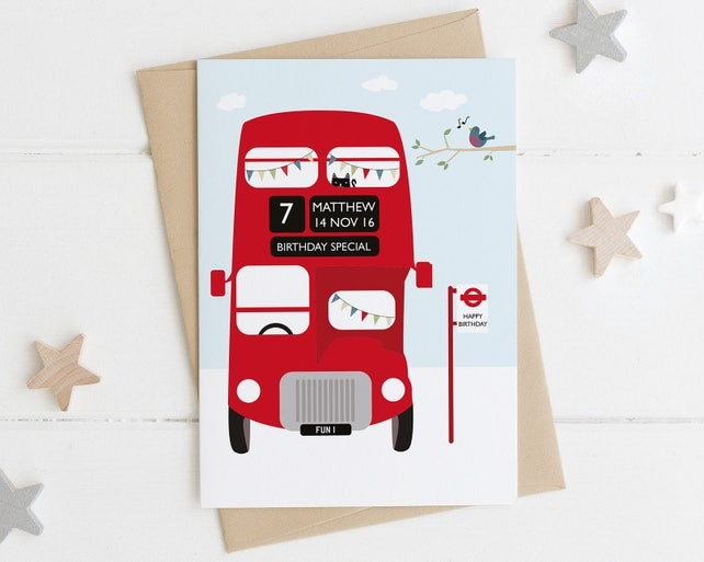 London Bus Birthday Card Personalized Birthday Card Etsy