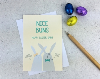Funny Easter Card - 'Nice Buns' Rabbit Personalised easter card - bunny card - rude easter card - easter card for friends - rabbits easter