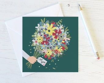 Floral Bouquet 'For You' Card - thank you - thinking of you