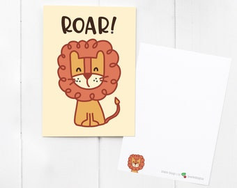 ROAR! Lion Postcard / notecard / mini print - send a smile to a friend! With matching cute lion Sticker add-on