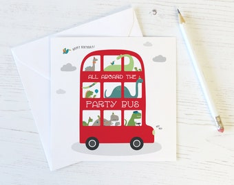 Dinosaur Party Bus Birthday Card for Children