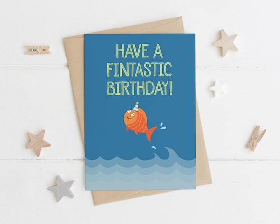 Funny Fish Pun Birthday Card Have A Fintastic