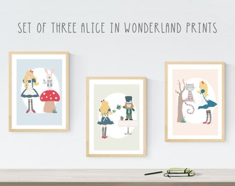Alice in Wonderland - Mad Hatter - White Rabbit - Cheshire Cat - childrens prints - illustration - kids decor- lewis carroll - alice print