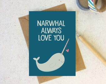 Narwhal Love Card - anniversary card - valentine card for boyfriend - valentine card - valentines day - narwhal anniversary - narwhal card