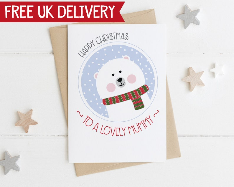 Mummy Christmas Card - Cute polar bear xmas card - card for mummy - cute  xmas card - mum card - to my mummy - xmas card to my mummy