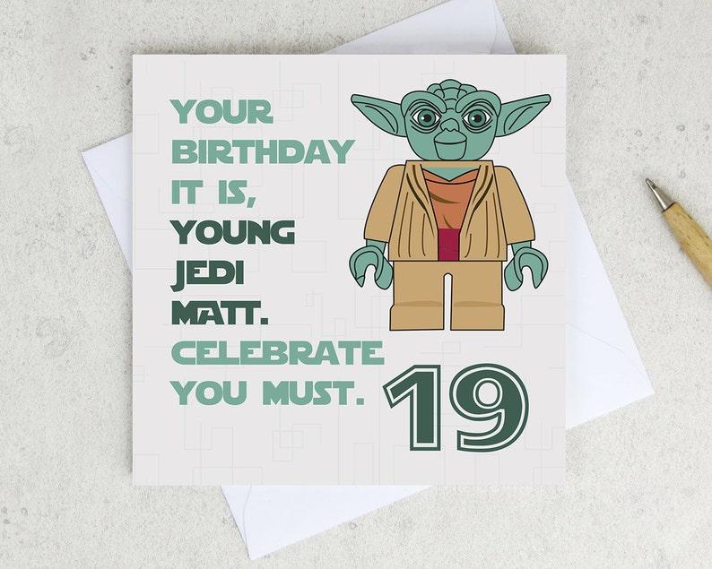 Star Wars Yoda Birthday Card Any Age Personalized Star Etsy