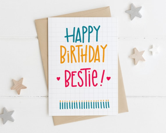Best Friend Birthday Card Bestie Card Best Friend Card Etsy