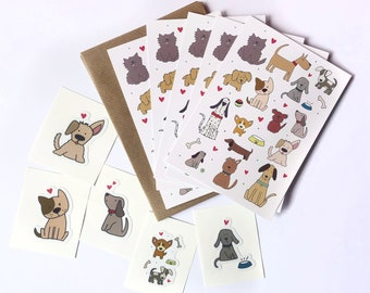 Illustrated Dog Notecard Set with stickers - five flat notecards / Dog Thank you Cards and stickers