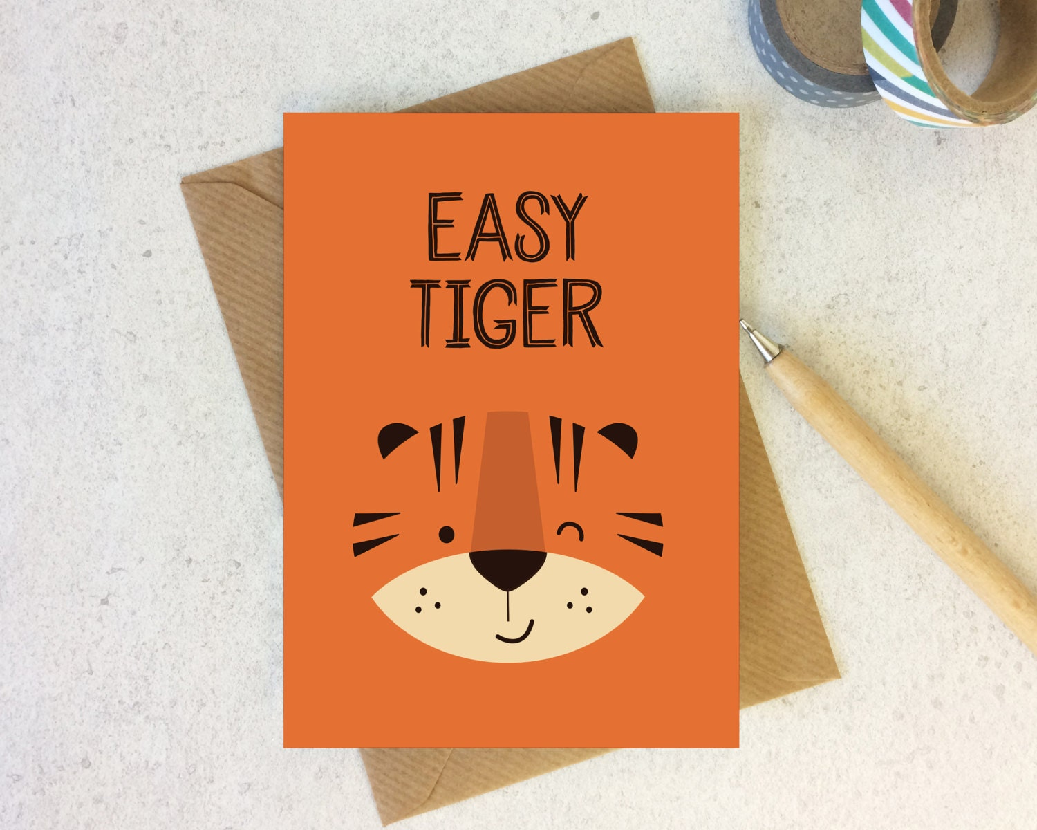 Easy Tiger Greeting Card Cute Cards Love Card Tiger Etsy