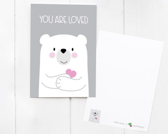 You Are Loved Bear Postcard / notecard / mini print - send love to a friend! With matching cute Bear Sticker add-on