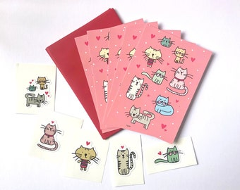 Illustrated Cat Notecard Set with stickers - five flat notecards / Cat Thank you Cards and stickers
