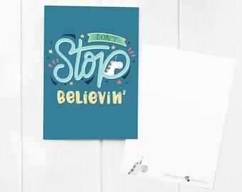 Unicorn 'Don't Stop Believing' Postcard / notecard / mini print - send positive post! With matching cute Unicorn Sticker add-on