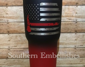 97e0bc3d678 Thin Red Line Firefighter Custom Powder Coated Stainless Steel Tumbler