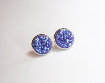 Purple Lavender Chunky Glitter Faux Druzy Earrings - Studs/Posts 12mm LARGE (D73)