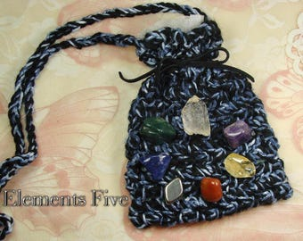 Chakra Crystals Healing Bag Set, Chakra Healing Crystals Bag Set, Healing Crystals Full Chakra Set, Hand Crochet Crystal Healing Bag Gift