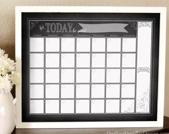 Chalkboard Calendar - Dry Erase Calendar Insert - Monthly Calendar - Printable Calendar - Blank Monthly Calendar - Chalkboard Printable
