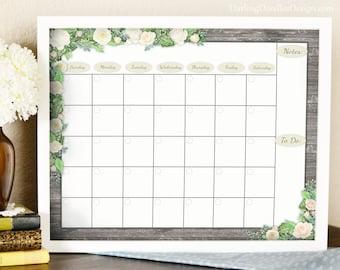 Monthly Floral Calendar Insert - Printed Calendar - Dry Erase Calendar Insert - Wall Calendar - Family Calendar - Office Calendar -