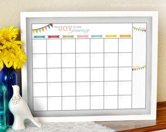 Find Joy in the Journey - Blank Monthly Calendar Insert - Calendar Print - Dry Erase Calendar Insert - Office Calendar - Reusable Calendar -