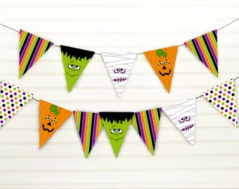monster pennant banner halloween banner halloween bunting halloween party decor printable halloween banner monster party decor