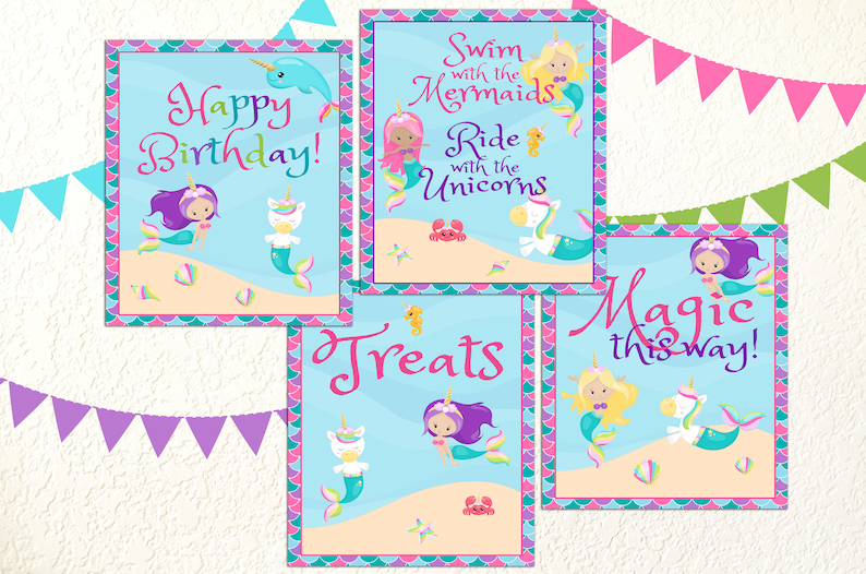 Mermaid Unicorn Birthday Party Signs