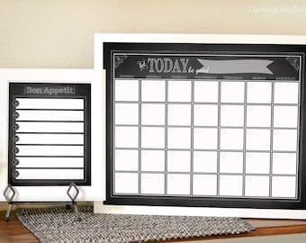 Chalkboard Calendar - Chalkboard Menu Planner - Monthly Calendar - Weekly Menu Planner - Family Command Center - Instant Download Printable