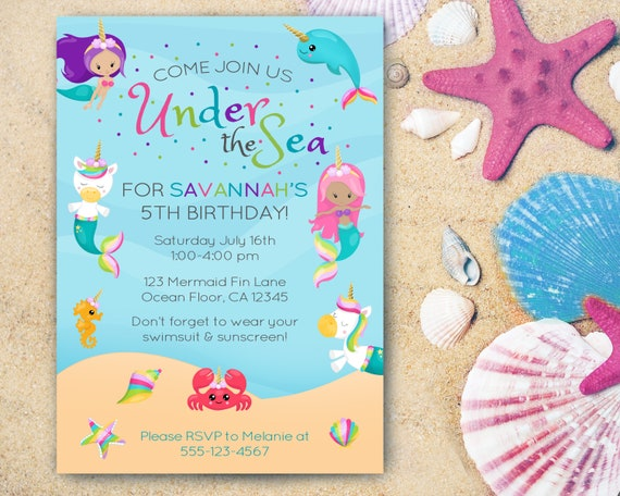 Mermaid Unicorn Birthday Party Mermaid Invitations Unicorn Etsy