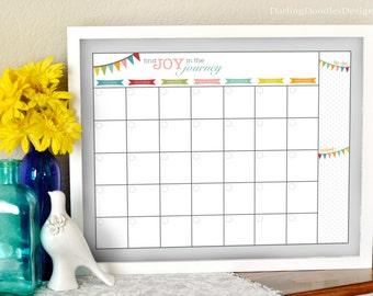 Blank Monthly Calendar - Printable Monthly Calendar - Dry Erase Calendar - 2018 Calendar - Reusable Calendar - Family Calendar - Find Joy