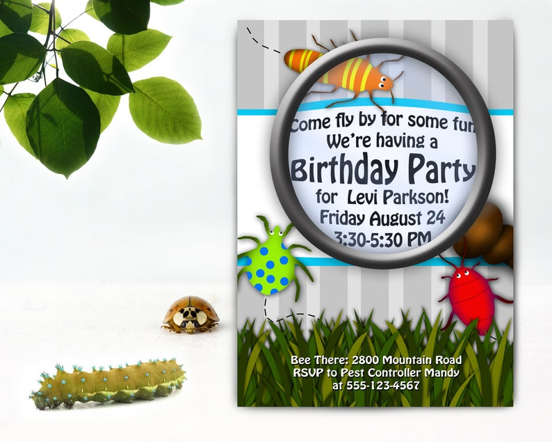 Bug Birthday Party Printable Invitations Customized
