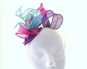 Delicate Purple Bebe Butterfly Fascintor Headpiece ideal for a Wedding, Derby Races, Prom, Party