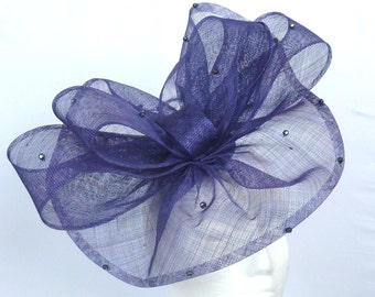 DOROTHY - Purple Fascinator Hatinator Hat Headpiece for Weddings Mother of Bride Derby Royal Ascot Kentucky Derby Ladies Day Races