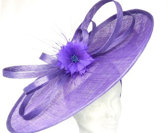 KATE - Purple Disc Hatinator Hat Fascinator Headpiece for Weddings, Mother of Bride, Kentucky Derby, Royal Ascot, Derby, Ladies Day Races