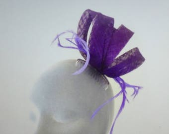 BETHANY Purple Fascinator Hat Headpiece Hatinator for Weddings Mother of Bride Ladies Day Royal Ascot Kentucky Derby Dubai Races