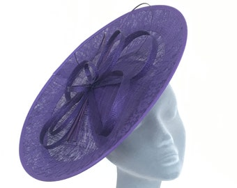 CLARA Purple Disc Fascinator Hat Hatinator Headpiece for Weddings, Mother of the Bride, Royal Ascot, Kentucky Derby, Ladies Day Races
