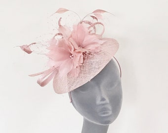 LIBBY - Pale Pink Blush Fascinator Hatinator Hat - Mother of Bride, Weddings, Royal Ascot, Epsom Derby, Kentucky Derby, Ladies Day Races