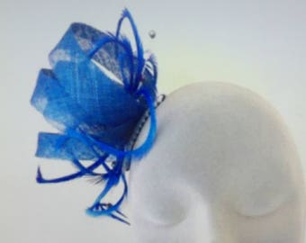 BETHANY Cobalt Royal Blue Fascinator Hat Headpiece Hatinator for Weddings Mother of Bride Ladies Day Royal Ascot Kentucky Derby Dubai Races