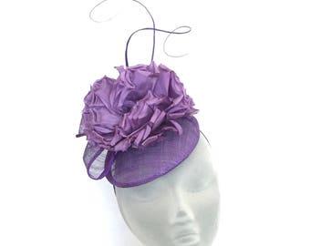MOLLY - Purple Button Fascinator Hat Headpiece Hatinator - Weddings, Mother of Bride, Derby, Royal Ascot, Kentucky Derby, Ladies Day Races