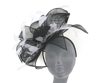 TILLY -  Black & White Fascinator Hatinator Hat Headpiece for Weddings Mother of Bride Kentucky Derby Royal Ascot Ladies Day Races