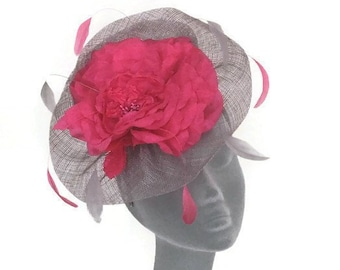 LUCY - Silver Grey & Pink Fascinator Hatinator Hat Headpiece - Mother of Bride Weddings Kentucky Derby Royal Ascot Ladies Day Races Hat