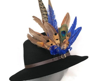 9e0fb914d8ee4 ARABELLA -Ladies Black Wool Felt Trilby with Pheasant Feather Trim -  Perfect for Cheltenham Races