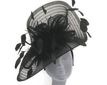 TAYLOR - Large Black Fascinator Hat Hatinator for Kentucky Derby Royal Ascot Epsom Derby Ladies Day Races Weddings Mother of Bride