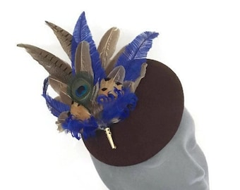16d57caf BRIDGET - Brown Felt Pheasant Feather Button Fascinator Hatinator Headpiece  - Cheltenham Races Ladies Day Grand National Country Hat